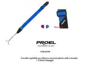 PROEL STRAP100 BL Tracolla regolabile per chitarra con Porta plettro e 2 PLETTRI