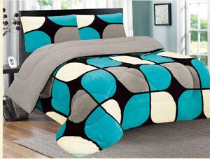 3 Piece Reversible Warm Flannel Plush Sherpa Borrego Blanket King Size 7 lbs