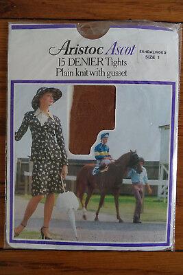 Appena Vintage Collant Aristoc Ascot 15 Denari Collant Taglia Legno Di Sandalo Taglia 1-mostra Il Titolo Originale