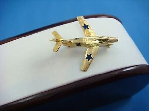 !NICE 14K SOLID YELLOW GOLD VINTAGE PLANE BROOCH WITH ENAMEL, 4.7 GRAMS
