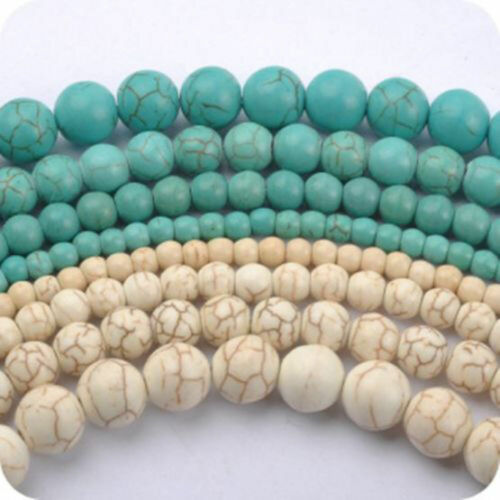 """4mm 6mm 8mm 10mm 12mm White Blue Turkey Turquoise Round Loose Beads 15/"""" Strand A"""