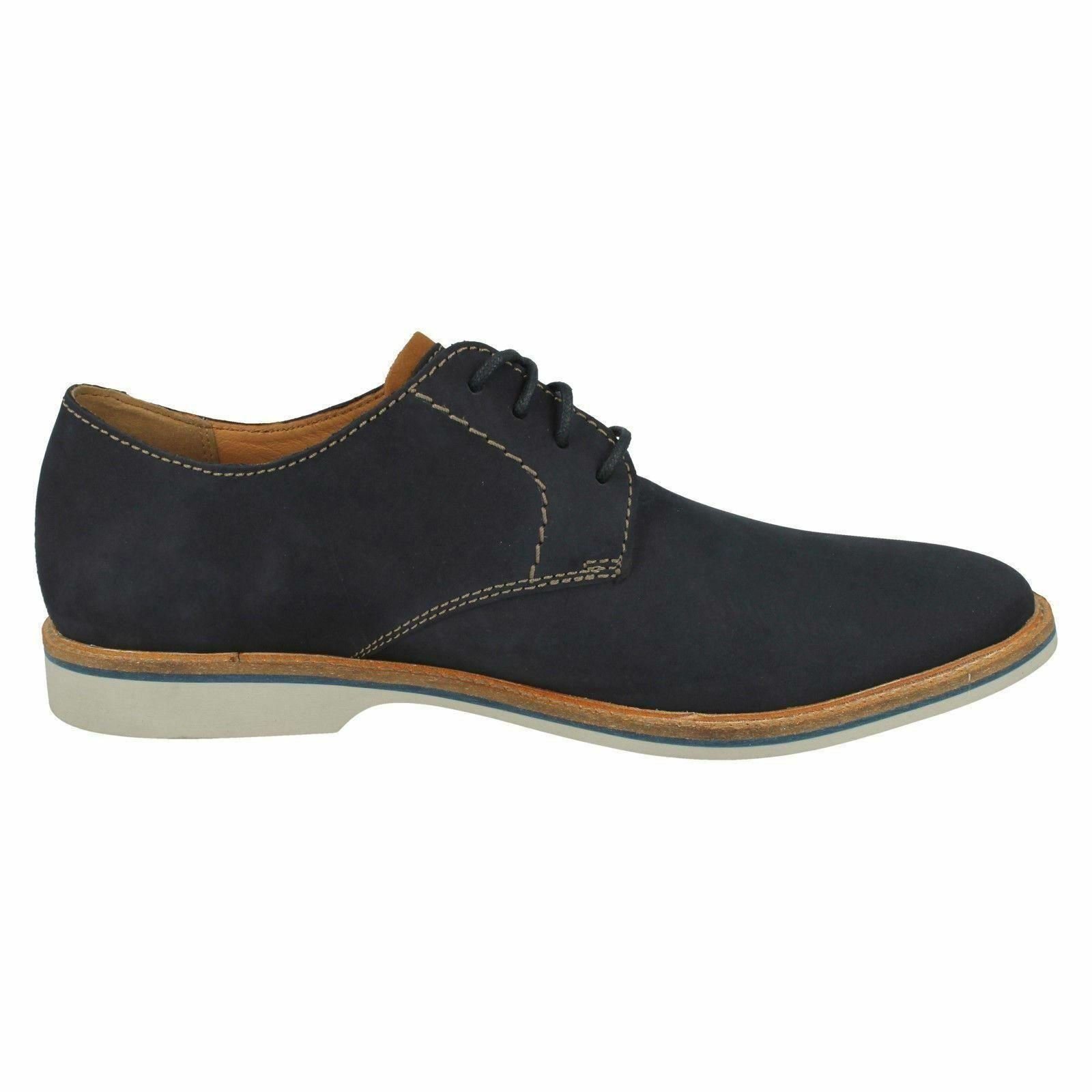 Mens Clarks Atticus Lace Navy Nubuck Leather Smart Lace Up Shoes