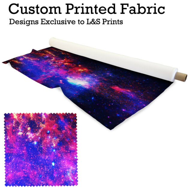 GALAXY SPACE PRINT FABRIC PER METRE LYCRA SATIN JERSEY SPANDEX FROM £15.99
