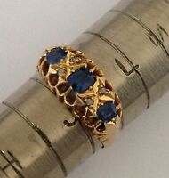 Fine Edwardian 18ct Gold Cornflower Blue Sapphire & Rose Diamond Set Ring