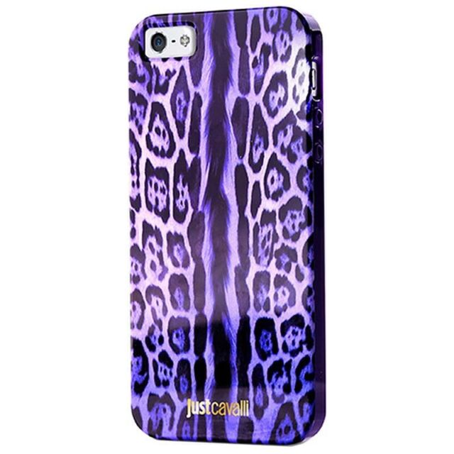 release info on 03ddc c6a3a Just Cavalli Purple Leopard Print Anti Shock DESIGNER iPhone 5/5s Case