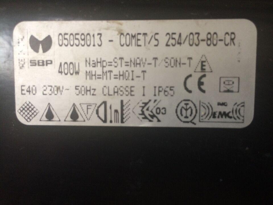 Byggepladslamper, 400watt, ca. 55000. lumen.