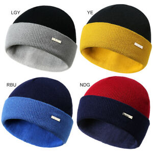 6298e936e Men Women Warm Winter Knitted Wool Beanie Hat Solid Color Warm Ski ...