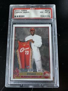 2003-Topps-LeBRON-JAMES-rookie-card-221-graded-PSA-8-NM-MT-MINT-DRAFT-PICK