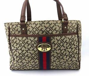 Tommy-Hilfiger-Tasche-Handtasche-Damen-braun-goldfarben-beige-Logoprint