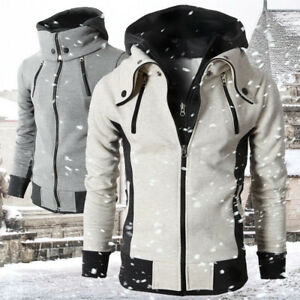 Mens-Zipper-Turtleneck-Hooded-Jacket-Winter-Warm-Hoodie-Outwear-Hoody-Biker-Coat