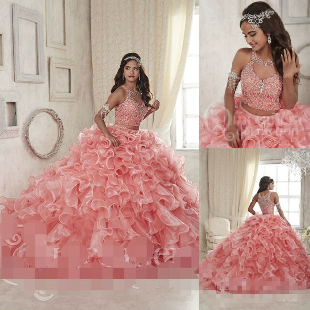 Hot Pink Ball Gown Sweet 16 Quinceanera Dresses Prom Party Pageant Wedding Dress