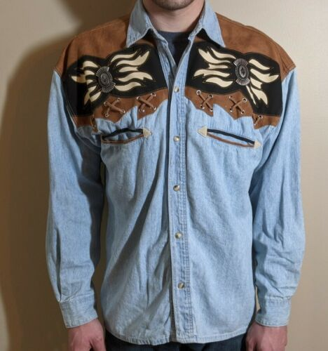 Vintage River Gold Mens Small Western Shirt Pearl… - image 1