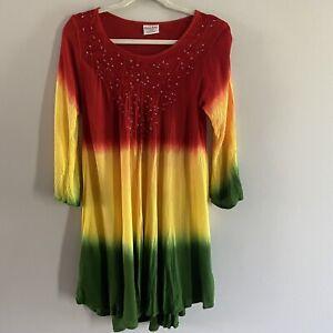 Rainbow Womens Rayon Dress Tunic One Size Colorful Hippie Boho OSFM