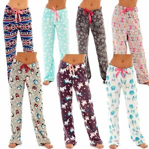 8c7378db6ca Ladies Soft Snuggle Fleece Lounge Pants Warm Pyjama Bottoms Womens ...