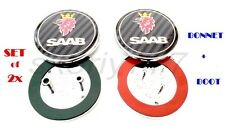 Set of 2x Saab 9-5 9-3 Carbon Front / Back Boot / Bonnet Emblem Badge Symbol