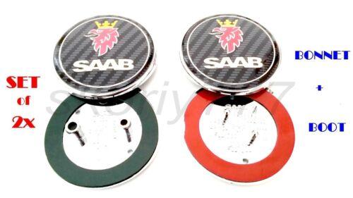 Conjunto de 2x Saab 9-5 9-3 Carbono Bota de anverso y reverso//Símbolo de insignia emblema de Bonnet