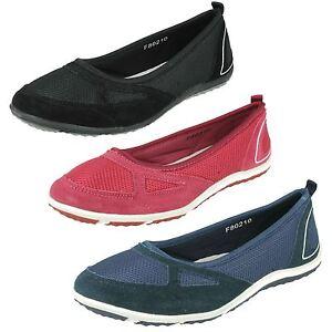 Mujer-Down-To-Earth-ante-Malla-Zapatos-sin-Cierres-Gb-Tallas-3-8-F80210