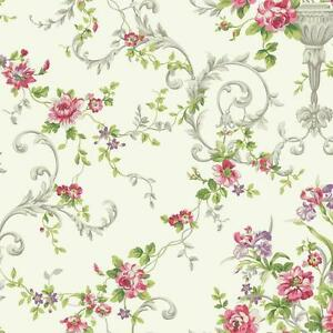 Wallpaper-Traditional-Victorian-Floral-Vine-Flowers-in-Urns