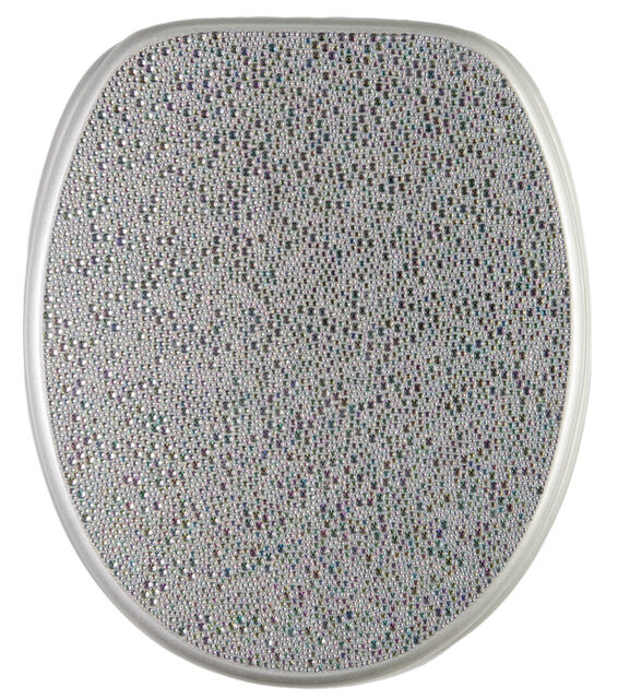 SOFT CLOSE PRINTED WC TOILET SEAT | STABLE HINGES | SLOW CLOSE | CRYSTAL SILVER