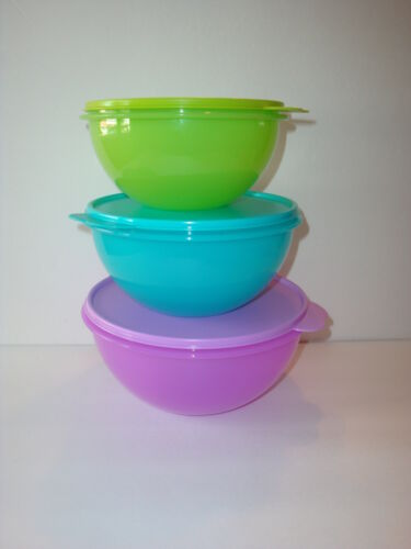 Tupperware Wonderlier Mixing Bowls 3pc Set Purple Pink Blue + Citrus Peeler New