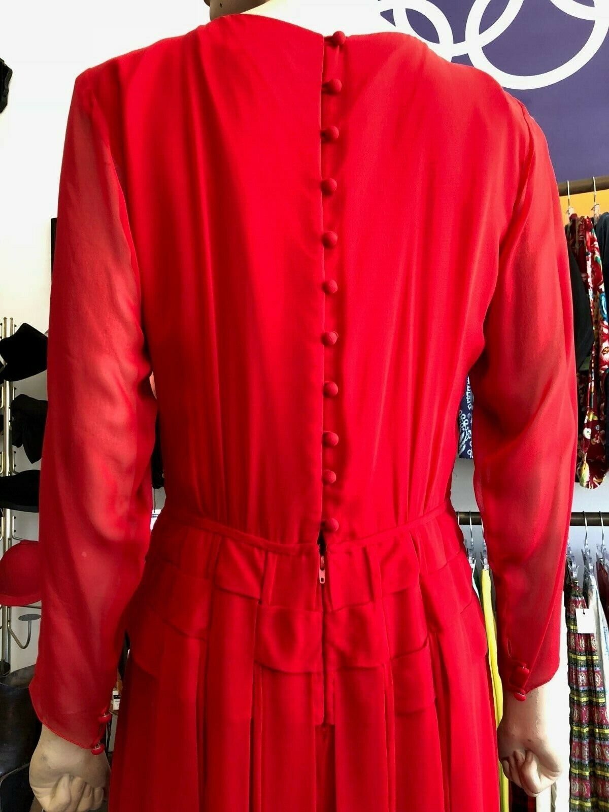 Vintage 80s Holly Harp Red Silk Gown - image 4