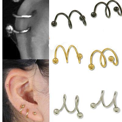 2pc 16G Twist Spiral Helix Ear Stud Earrings Ring Cartilage Body Lip Piercing