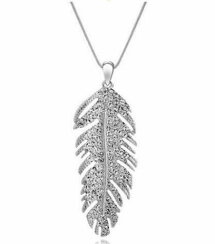 Silver pendant necklace with jewelled feather pendant
