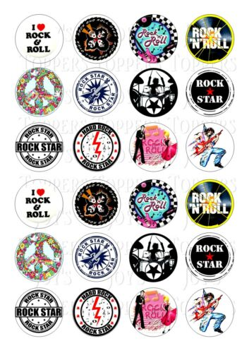 24 Rock And Roll Revival Cupcake Topper Helado Glaseado Comestibles Hada Cake Toppers