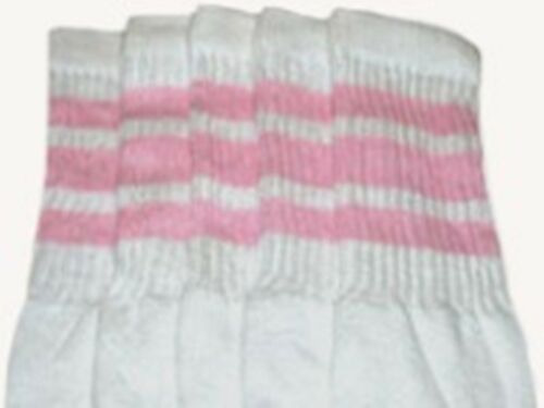 """22"""" KNEE HIGH WHITE tube socks with BABY PINK stripes style 1 22-49"""