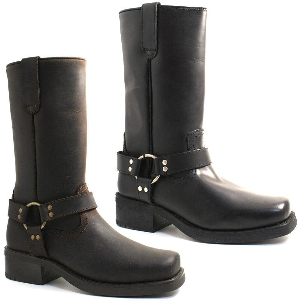 Señores gringos vaquero cuero wade botas tamaño negro y marrón m156