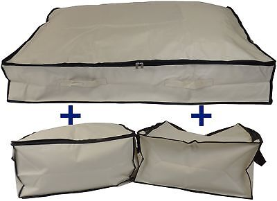Large Large - 70 Litres - Pack of Two, Beige Neusu Strong Clothes Storage or Travel Bag 55x45x30cm 70 Litres