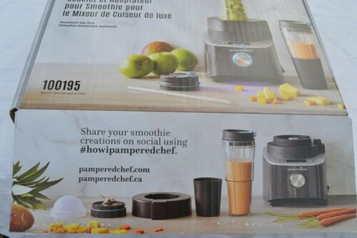 Pampered Chef NEW Deluxe Cooking BLENDER SMOOTHIE CUP & ADAPTER Accessories Set