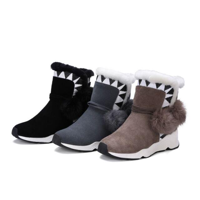 Womens Warm Lamb Wool Lining Winter Snow Boots Fashion Fuzzy Balls Cute Shoes