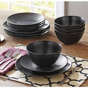 Image is loading Black-Dinnerware-Set-Dinner-Plate-Plates-Bowl-Bowls- & Black Dinnerware Set Dinner Plate Plates Bowl Bowls 12 Piece Ceramic ...