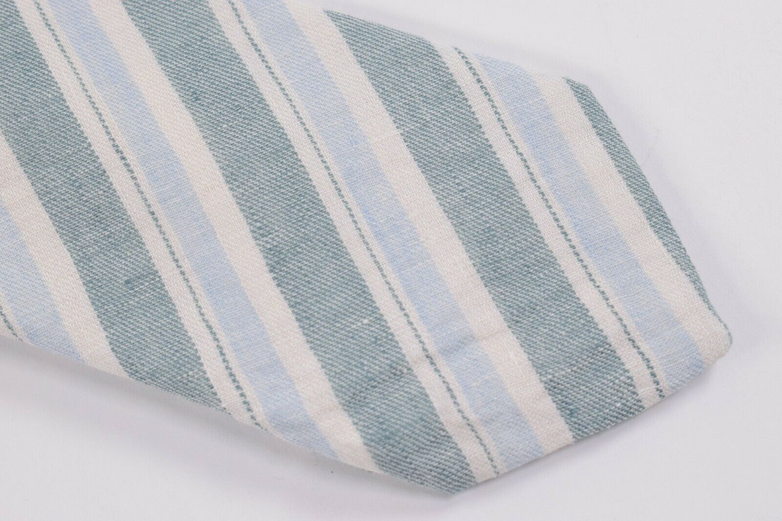 Belvest Neck Tie NWT Blue, White and Light Blue Striped 100% Linen