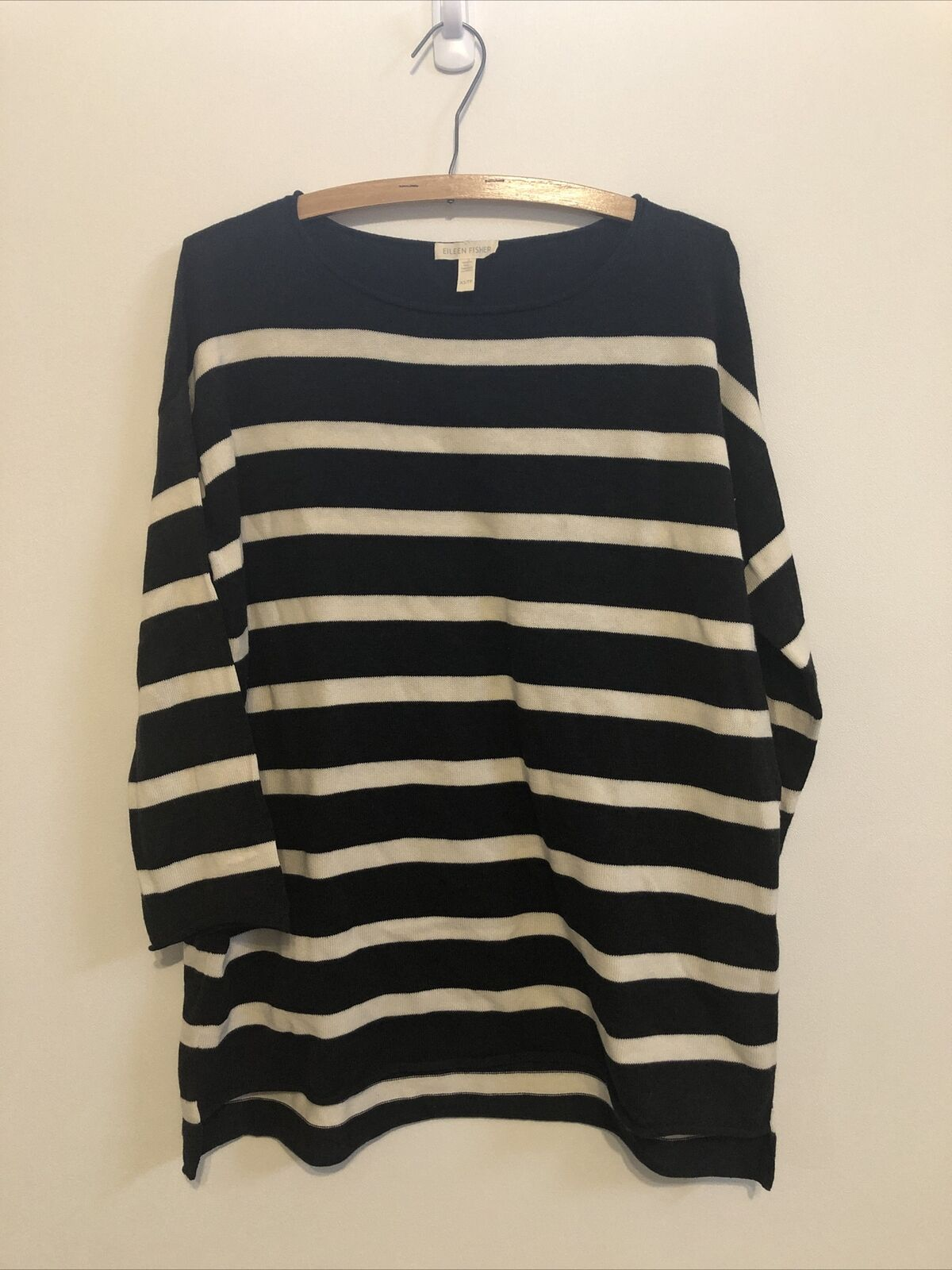 Eileen Fisher Womens Gray Cotton Striped Shirt Pullover Sweater Top XL BHFO 4764