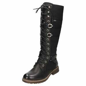 Details zu Rieker Tex Gothic Punk Knee Flat Combat Lace Up Boots 94732 00 Military Warm