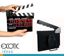 Movie Slate Clapper Board LED Digital Desk Clock with Calendar Alarm AC power