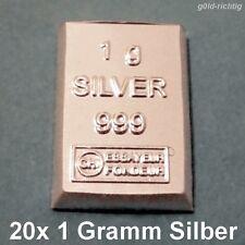 20 x 1 Gramm Silberbarren - (1g Silber ESG Valcambi 999 Feinsilber 20g Barren)