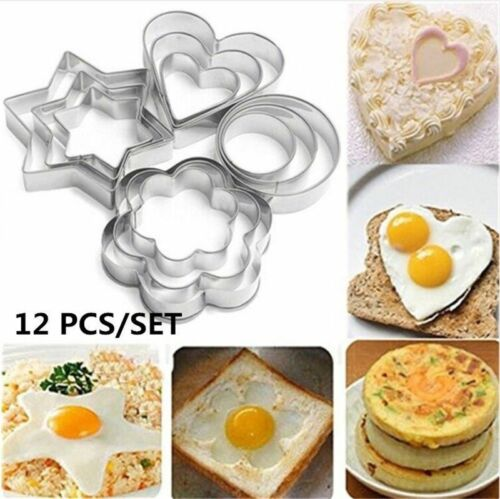 12pcs Stainless Steel Fondant Biscuit Pastry Cookie Cutter Cake Baking Mold Tool