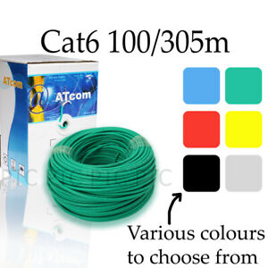 100m-305m-Cat6-UTP-Ethernet-solid-cable-roll-Lan-network-data-lead-multi-colors