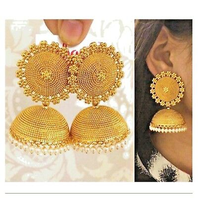 Indian Bollywood Style Gold Plated Pearl Jhumka Jhumki Earrings