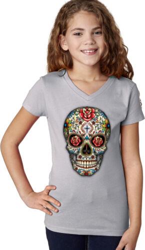 Girls Halloween T-shirt Sugar Skull with Roses V-Neck