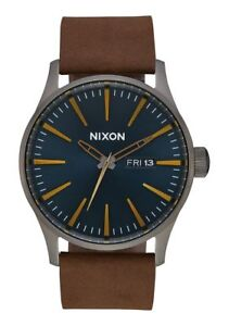 Nixon-A105-2984-Sentry-Leather-Men-039-s-Watch-Brown-42mm-Stainless-Steel