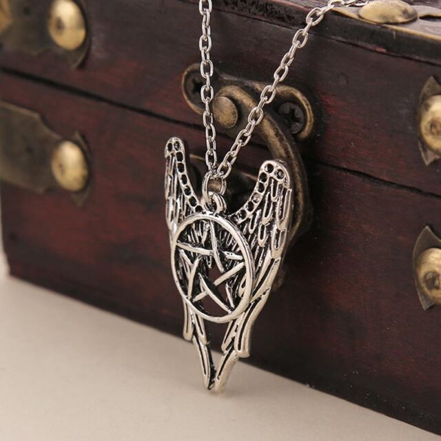Silver Angel Pentagram Amulet Winchester Inspire Super Natural Pendant Necklace