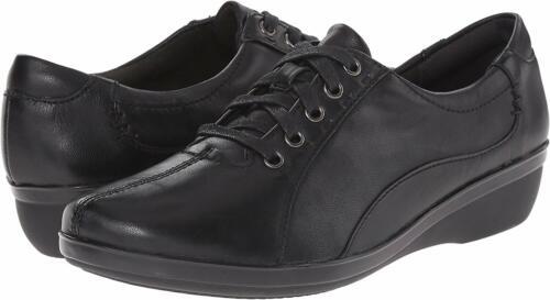 CLARKS Women's Everlay Elma, Black Leather, 6.5 M