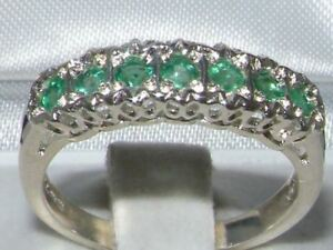 Solid-English-Sterling-Silver-Natural-Emerald-Victorian-StyleEternity-Band-Ring