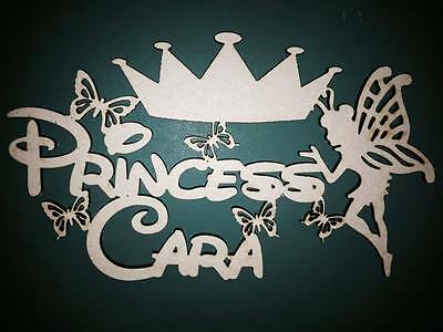 "3mm MDF Laser Cut blank craft personalised sign/plaque ""Princess ?"" with fairy."