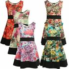 New Ladies Plus Size Contrast Floral Sleeveless Skater Dress 8-26