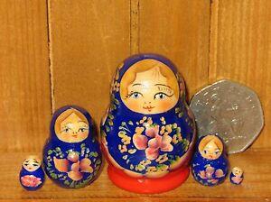 Matryoshka-Nesting-Russian-dolls-TINY-5-BLUE-RED-HOUSE-MINIATURE-Marchenko-GIFT
